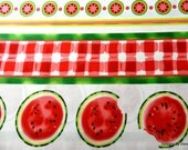 "One Yard Cut Quit Fabric, Watermelon in Stripes on White, ""Mad for Melon"" by Maria Kalinowski for Kanvas, Craft, Sewing & Quilting Supplies"