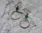 Simple Brass Hoop Earrings - 5 color choices