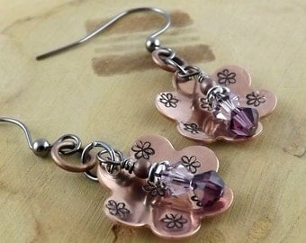 Amethyst and light amethyst purple Swarovski crystal hand stamped copper flower gunmetal french hook earrings