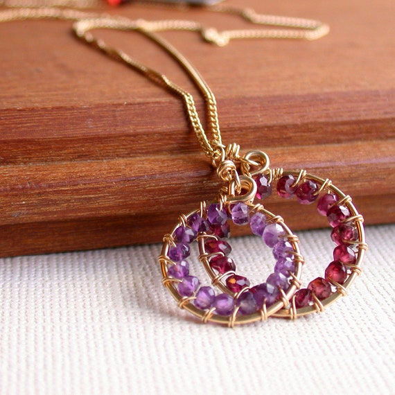 Wire Wrapped Gemstone Hoop Necklace. Garnet. Amethyst