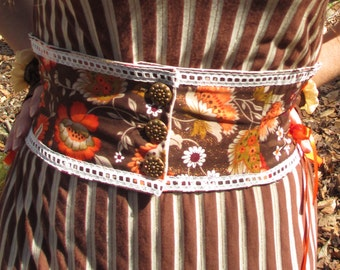 Brown & Orange Floral Steampunk Belt