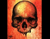 "Print 8x10"" - Skull - Skeleton Bones Dark Art Horror Lowbrow Art Zombie Monster Gothic Death Dead Taxidermy Huanted Teeth Blood Rust Decay"