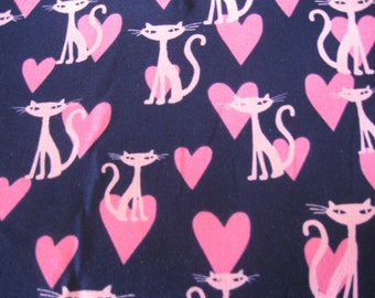 "Michael Miller Bling Kitty Pink Siamese Cats on Navy Fabric - 1 yard - 56"" wide"
