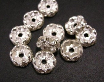 10pc 8mm silver color rhinestone beads-1631