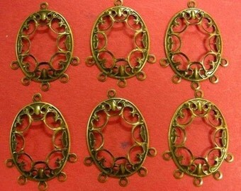 12pc antique bronze nickel free filigree finding-1712