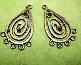 4pc antique bronze Chandelier Components-1960