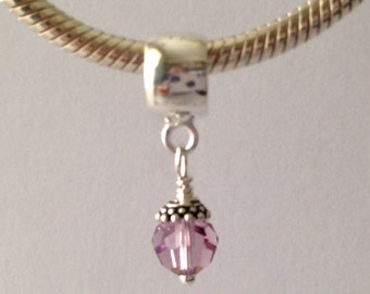 swarovski crystal bead June Birthstone Light Amethyst 925 Sterling Silver Charm Fits Biagi Chamilia