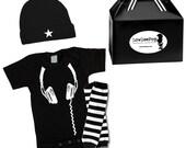 Rockstar Baby Kit DJ Gift Set onesie, hat & leg Warmers Punk Rock
