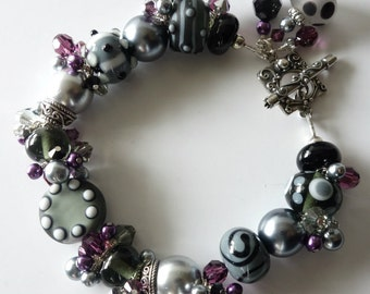 Lampwork Beaded Bracelet, Charcoal Gray, Plum Purple, Black, Sterling Silver, Amethyst Crystals, Lampwork Jewelry, Beaded Jewelry, OOAK
