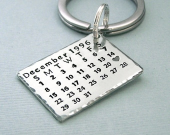 Sterling Silver Calendar Key Ring - Mark the Date - Hand Stamped - Anniversary - Birthday - Wedding - Engagement