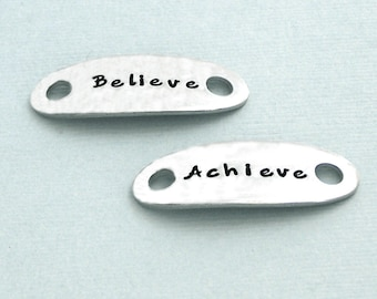 READY TO SHIP - Believe Achieve - Motivational Shoe Tags - Hand Stamped Pewter - Dog Agility Gift - Shoe Plates - Canine Agility