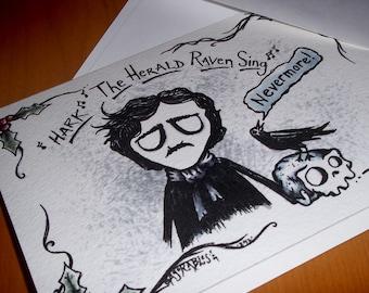 Edger Allan Poe Raven Skull Card 5x7 Blank inside by Agorables Xmas Season Funny Greeting Black Bird Goodness