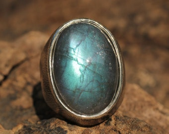 Labradorite and silver signet ring in brushed and oxidized sterling silver
