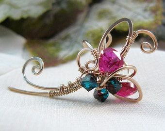 Wire Wrapped Ear Cuff ~ Wire Ear Cuff ~ Bronze Ear Cuff ~ Red Cubic Zirconia Ear Cuff ~ Fairy Ear Cuff ~ Fairy Ear Jewelry ~ Fairy Jewelry