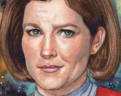 Original Watercolor Painting Art Star Trek Voyager Captain Janeway Portrait 4 x 6 Inches