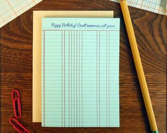 letterpress happy birthday! count memories not years ledger paper greeting card ledger office accounting birthday card