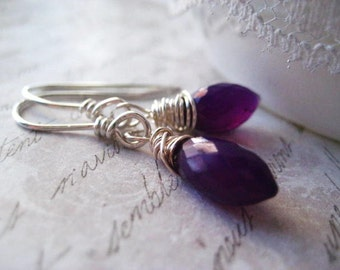 Amethyst Earrings, Deep Purple, Pointed Briolette, Wire Wrapped, Fine Silver, Hand Formed, Sterling Silver, February Birthstone, candies64