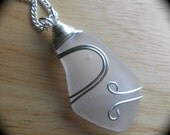 Sea Glass Necklace, Beach Glass Jewelry, Eco Friendly Pendant, UP to SNOW GOOD