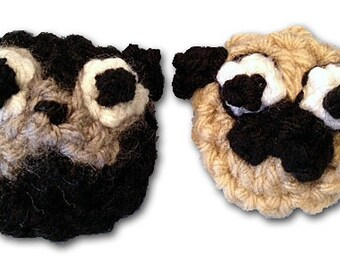 Add a Black or Fawn Pug Badge to any Dog Sweater Vest, Neck Warmer or Hat