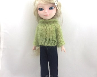 Makie doll hand knitted sweater - lime green