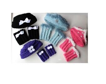 Girls Crochet Pillbox Hat Pattern and Boot Cuffs Crochet Hat Pattern Crochet Boot Cuff Pattern No. 75