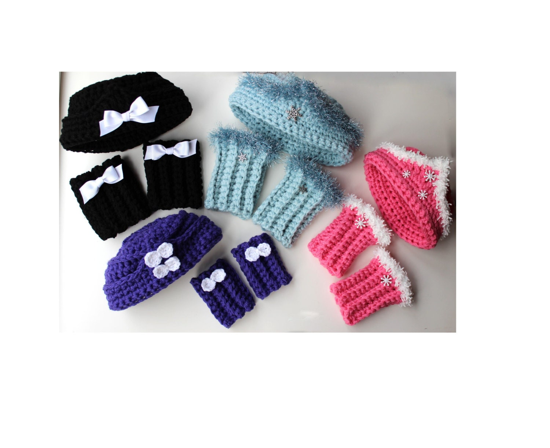 Crochet Hat Patterns With Cuff : Girls Crochet Pillbox Hat Pattern and Boot Cuffs Crochet Hat