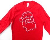 Santa Claus red tshirt Ugly Christmas Sweater or Kids Christmas Pajamas Shirt - Holiday Children or Men Christmas Card Santa Pictures