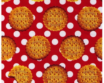 HALF YARD - Photo Realistic Biscuits on Red with White Polka Dots - Oxford Cotton - Cosmo Textiles, Japanese Import
