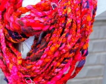 Handspun Art Yarn- Lava Flow- Signature WildPlied Artisan Yarn