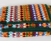 Vintage Crochet Blanket - Granny Stripe Afghan - Colorful Throw - Multi Color Stripes - Colorful