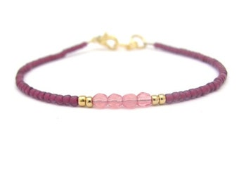 Raspberry Bracelet, Seed Bead Bracelet, Beaded Bracelet, Friendship Bracelet, Rose Pink Bridesmaid Gift, Minimal Bracelet Beaded Bracelet