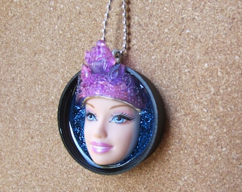 Queen of Purple - Upcycled Barbie Doll Pendant