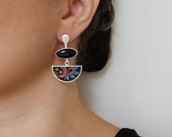 Black onyx, fine silver,cloisonné enamel, sterling silver dangle earrings,one of a kind