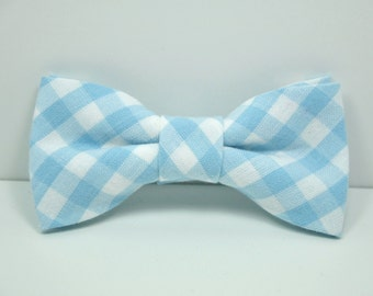 Light Blue Gingham Boy's Bow Tie