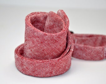 Red Linen Chambray Men's Bow Tie Rustic Wedding Bowtie Self Tie Bow Tie