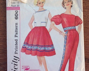 1950's Toreador Pants, Full Skirt , Cropped Back Button Blouse - Simplicity 3297 Pattern