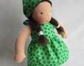Irish Luck Doll Dress, 12 inch doll clothes, Shamrock Dress for Waldorf dolls, rag dolls, green clover St. Patricks Day