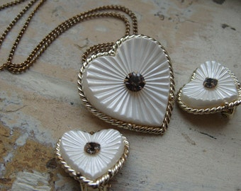 FREE SHIPPING Vintage White Heart Necklace Brooch with Rhinestone Accent and Matching Clip Earrings