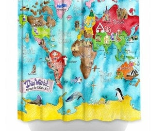 World Map or United States shower curtain by Marley Ungaro
