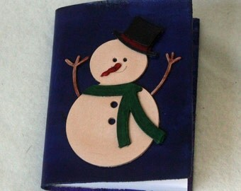 Dark Blue Leather Mini Notebook with 3-D Snowman
