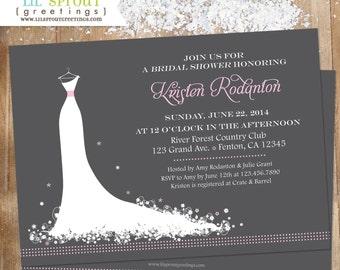 Wedding Dress Bridal Shower Invitation - Choose Colors - Printable Dress Silhouette Invitation