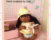 """One- of- a- Kind Polymer Clay Baby ..Mia . (4.5"""")"""