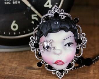 Original Cameo Sculpture Steampunk Bat Girl Necklace Pop Surrealism