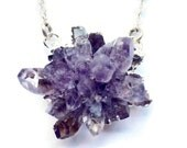 Raw amethyst geode and sterling silver pendant necklace