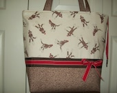 SALE..Red....Brown..SOCK MONKEY...Polka Dot...Ribbon..Binky Clip..Diaper Bag..Tote