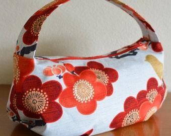Pleated Shoulder Bag Purse Plum Blossoms Bird Red Women Handbag ON SALE