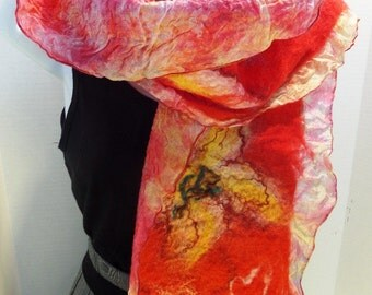 Red nuno felted silk scarf