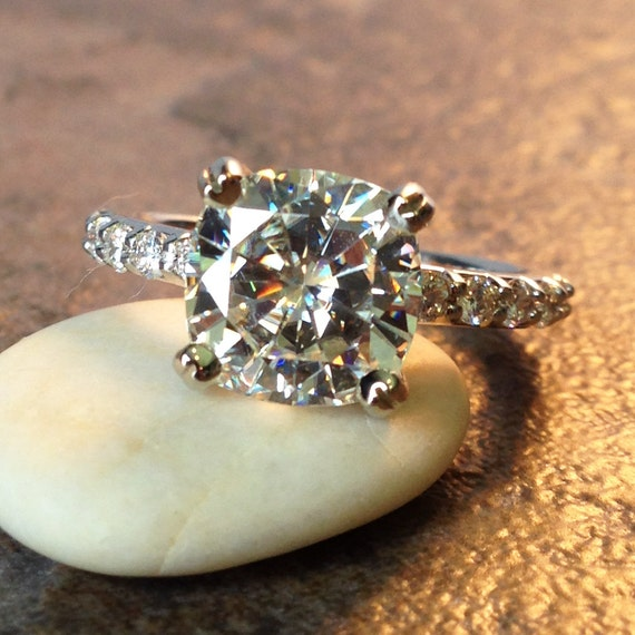sage ring 3 carat cushion cut moissanite by jhollywooddesigns