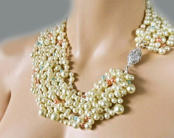 Cream Pearl Necklace Chunky Wedding Necklace Peach and Blue Pearl Bridal Statement Necklace