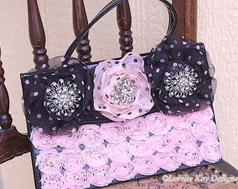 Pink and Black Flowers Handbag Upcycled Rhinestone One-of-a-Kind Handbag Wedding Bridal Prom